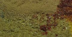 Spices cumin, paprika, turmeric, cinnamon. Macro. Stock Footage
