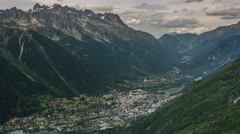 Chamonix village and valley time lapse Stock Footage