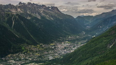 Chamonix village summer cityscape time lapse 4K Stock Footage