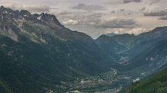 Chamonix village and valley clouds time lapse 4K Stock Footage