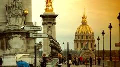 ULTRA HD 4K real time shot,Paris bridge Pont Alexander III Stock Footage
