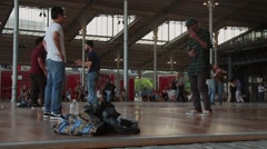 Break Dance and Valsa Parque De La Villette, Paris Stock Footage