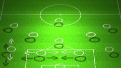 4K European Football Tactics 4-3-3 Standard Lineup Formation handdrawn - stock footage