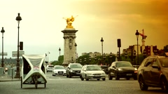 ULTRA HD 4K real time shot,Paris bridge Pont Alexander III Stock Footage