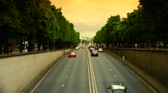 ULTRA HD 4K real time shot,Slow traffic through congested Paris tunnel, Stock Footage