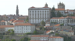 Cityscape of Porto with the Episcopal Palace Stock Footage