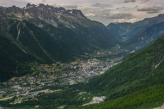Chamonix village cityscape time lapse 6K native Stock Footage