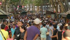 Crowded Les Rambles Boulevard in Downtown Barcelona 4k Stock Footage