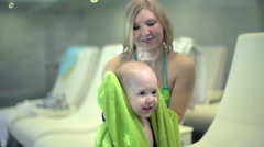 Wiping the Baby with a Towel - stock footage
