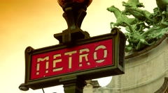 ULTRA HD 4K real time shot,sign indicates a Paris metro station Stock Footage