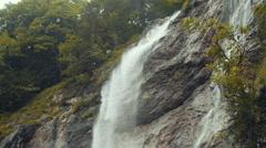 Beautiful mountain waterfall in Austria, Obertraun. Stock Footage
