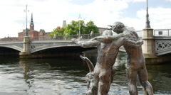 Statue with the background the Vasabron bridge in Stockholm Sweden Stock Footage