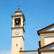 ancien clock tower in italy europe old  stone and bell - stock photo