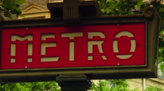 ULTRA HD 4K real time shot,sign indicates a Paris metro station - stock footage