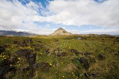 Stock Photo of Tranquil countryside with mountain in the distance, Hellnar, Iceland