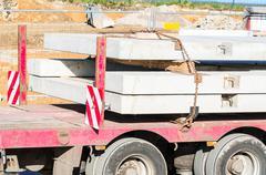 Truck-trailer with precast concrete - stock photo