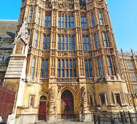 Old in london  historical    parliament glass  window    structure and sky Stock Photos