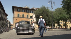 Oldtimer in street of Florence Stock Footage