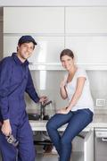 Pair of plumbers worked well Stock Photos