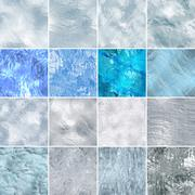 Seamless ice snow textures set. Abstract winter backgrounds. Digital graphic - stock illustration