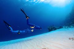 Freedivers in the sea Stock Photos