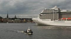MSC Cruise ship leaving Stockholm Sweden Stock Footage