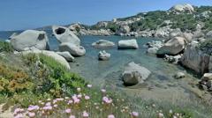 Le Piscine di Porto Cuncatu Rock Beach Sardinia Italy - 29,97FPS NTSC Stock Footage