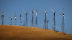 Wind Turbines on Clean Energy Wind Farm Renewable Power Slow Zoom Stock Footage
