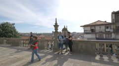 Tourists on the terrace of Porto Cathedral Stock Footage