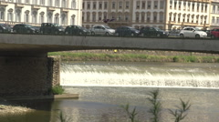 View on Arno river, small waterfall Stock Footage