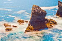 Seascape of the famous place - Aiguilles de Port-Coton. - stock photo