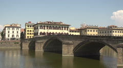 Ponte Santa Trinita at Arno river Stock Footage