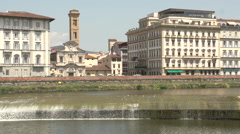 View on Arno river, small waterfall in slow motion Stock Footage