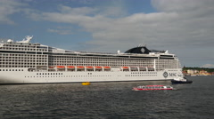 Time lapse from MSC Cruise ship leaving Stockholm Sweden Stock Footage