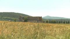 Ancient cistercian San Galgano gothic abbey, Tuscany, Italy Stock Footage