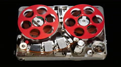 Vintage reel to reel audio tape recorder / player Stock Footage