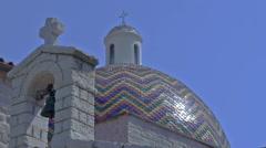Church Bells & Colorful Dome San Paulo Olbia Sardinia Italy - 29,97FPS NTSC Stock Footage