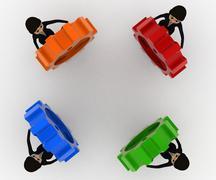 3d women holding colourful gear cogwheel concept - stock illustration