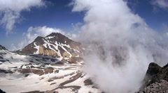 Aragats mount view into the crater of an extinct volcano Stock Footage