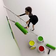 3d woman paint wall green using paint roller concept - stock illustration