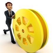 3d man rolling golden film reel concept - stock illustration
