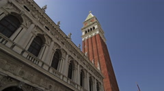 Panning and tilt shot in slow motion of Piazza San Marco Stock Footage
