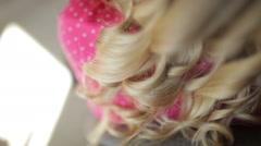 Bride blonde hair during wedding preparations - stock footage