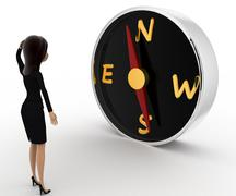 3d woman looks worried while looking direction on compass concept - stock illustration
