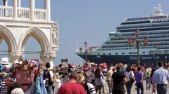 Slow motion shot of cruise ship pulling up near Piazza San Marco - stock footage