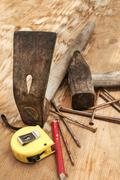 Hammer,adze,measuring tape,nails Stock Photos