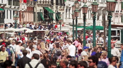 Slow motion of busy Venetian street Stock Footage