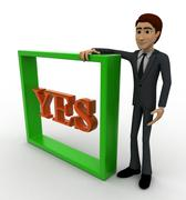 3d man with yes text and square box concept - stock illustration
