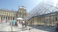 People enter the Louvre museum - stock footage
