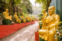 Statues at Ten Thousand Buddhas Monastery in Sha Tin, Hong Kong, China. Stock Photos
